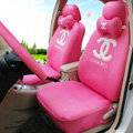 Luxury Oulilai Chanel Universal Automobile Car Seat Cover Sandwich 18pcs Sets - Pink