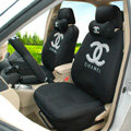 Personalised Oulilai Chanel Universal Automobile Car Seat Cover Sandwich 18pcs Sets - Black