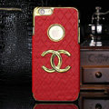 Chanel leather Cases Luxury Hard Back Covers Skin for iPhone 6 - Red