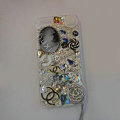 Bling Swarovski crystal cases Chanel Flower diamond cover for iPhone 6 Plus - White