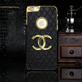 Chanel leather Cases Luxury Hard Back Covers Skin for iPhone 6 Plus - Black