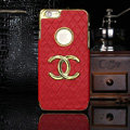Chanel leather Cases Luxury Hard Back Covers Skin for iPhone 6 Plus - Red