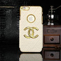 Chanel leather Cases Luxury Hard Back Covers Skin for iPhone 6 Plus - White
