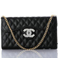Personalized Chain Chanel folder leather Case Book Flip Holster Cover for iPhone 6 Plus - Black