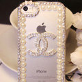 Chanel diamond Crystal Cases Luxury Bling Pearls Covers for iPhone 6S - White