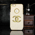Chanel leather Cases Luxury Hard Back Covers Skin for iPhone 6S - White