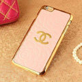 Classic Chanel Metal Flower Leather Cases Luxury Hard Back Covers Skin for iPhone 6S - Pink