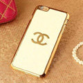 Classic Chanel Metal Flower Leather Cases Luxury Hard Back Covers Skin for iPhone 6S - White