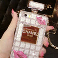Classic Chanel Perfume Bottle Crystal Case Red lips Diamond Cover for iPhone 6S - White