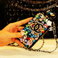 Classic Chanel Perfume Bottle Crystal Case Rhinestone Cover for iPhone 6S - Black