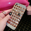 Luxury Chanel Bling Crystal Cases Flower Covers for iPhone 6S - Champagne