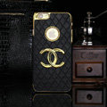 Chanel leather Cases Luxury Hard Back Covers Skin for iPhone 7 - Black