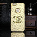Chanel leather Cases Luxury Hard Back Covers Skin for iPhone 7 - Gold