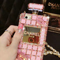 Classic Chanel Perfume Bottle Crystal Case Red lips Diamond Cover for iPhone 7 - Pink