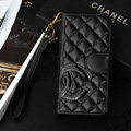 Classic Sheepskin Chanel folder leather Case Book Flip Holster Cover for iPhone 7 - Black