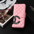 Classic Sheepskin Chanel folder leather Case Book Flip Holster Cover for iPhone 7 - Pink