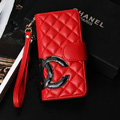 Classic Sheepskin Chanel folder leather Case Book Flip Holster Cover for iPhone 7 - Red