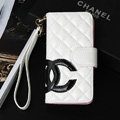 Classic Sheepskin Chanel folder leather Case Book Flip Holster Cover for iPhone 7 - White