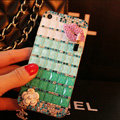 Funky Bling Rhinestone Chanel Flower Case Red lips Diamond Cover for iPhone 7 - Green