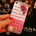 Funky Bling Rhinestone Chanel Flower Case Red lips Diamond Cover for iPhone 7 - Pink
