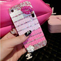 Luxury Chanel Bling Crystal Cases Red lips Flower Covers for iPhone 7 - Pink