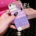 Luxury Chanel Bling Crystal Cases Red lips Flower Covers for iPhone 7 - Purple