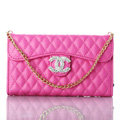 Pretty Chain Chanel folder leather Case Book Flip Holster Cover for iPhone 7 - Rose
