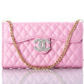 Princess Chain Chanel folder leather Case Book Flip Holster Cover for iPhone 7 - Pink