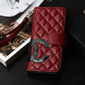 Unique Sheepskin Chanel folder leather Case Book Flip Holster Cover for iPhone 7 - Red