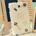 Bling Chanel Crystal Cases Pearls Cover for Samsung Galaxy Note 4 N9100 - White