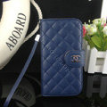 Chanel folder leather Case Book Flip Holster Cover for Samsung Galaxy Note 4 N9100 - Dark blue