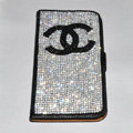 Luxury bling holster cover chanel diamond leather case for Samsung Galaxy Note 4 N9100 - Black+Black