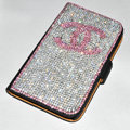 Luxury bling holster cover chanel diamond leather case for Samsung Galaxy Note 4 N9100 - Black+Pink