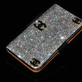 Luxury bling holster cover three chanel diamond leather case for Samsung Galaxy Note 4 N9100 - Black+Black