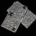 Luxury bling holster cover three chanel diamond leather case for Samsung Galaxy Note 4 N9100 - White+Black
