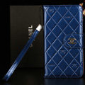 Best Mirror Chanel folder leather Case Book Flip Holster Cover for Samsung Galaxy NoteIII 3 - Blue