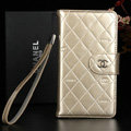 Best Mirror Chanel folder leather Case Book Flip Holster Cover for Samsung Galaxy NoteIII 3 - Champagne