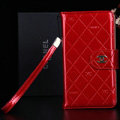 Best Mirror Chanel folder leather Case Book Flip Holster Cover for Samsung Galaxy NoteIII 3 - Red