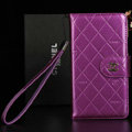 Classic Mirror Chanel folder leather Case Book Flip Holster Cover for Samsung Galaxy Note 4 N9100 - Purple
