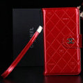 Classic Mirror Chanel folder leather Case Book Flip Holster Cover for Samsung Galaxy Note 4 N9100 - Red
