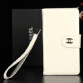 Classic Mirror Chanel folder leather Case Book Flip Holster Cover for Samsung Galaxy Note 4 N9100 - White