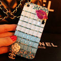 Funky Bling Rhinestone Chanel Flower Case Red lips Diamond Cover for iPhone 6 - Blue