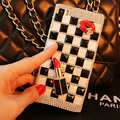 Funky Chanel Bling Rhinestone Classic Plaid Case Red lips Diamond Cover for iPhone 6 Plus