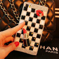 Funky Chanel Swarovski Bling Rhinestone Classic Plaid Case Red lips Diamond Cover for iPhone 6