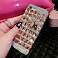 Luxury Chanel Bling Crystal Cases Flower Covers for iPhone 6 Plus - Champagne