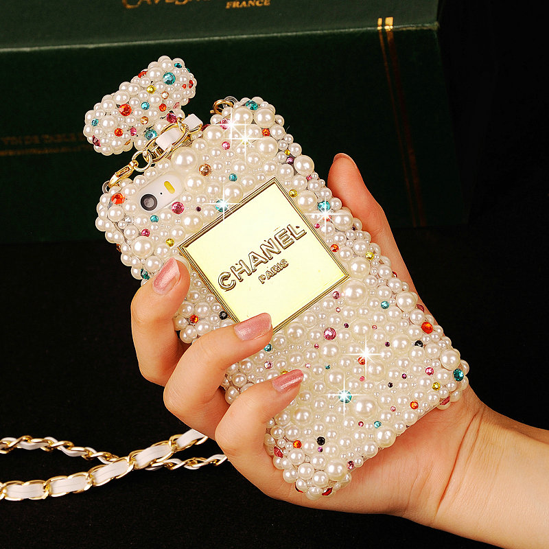 Chanel Bling Crystal Cases Pearls Scent Bottle Chain Covers for iPhone ...