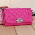 Classic Chain Chanel folder leather Case Book Flip Holster Cover for iPhone 6 Plus - Rose