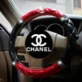 Classic Chanel Diamond PU Leather Auto Car Steering Wheel Covers 15 inch 38CM - Black+Red