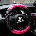 Classic Chanel Diamond PU Leather Auto Car Steering Wheel Covers 15 inch 38CM - Black+Rose