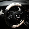 Classic Chanel Diamond PU Leather Auto Car Steering Wheel Covers 15 inch 38CM - Black+White
